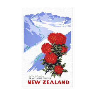 New Zealand Rata Blossom Vintage Travel Poster Canvas Print
