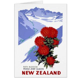 New Zealand Rata Blossom Vintage Travel Poster Card