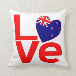 New Zealand Red LOVE Throw Pillow