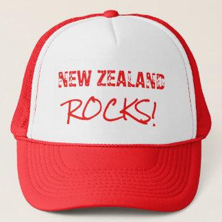 NEW ZEALAND Rocks Words Green Trucker Hat
