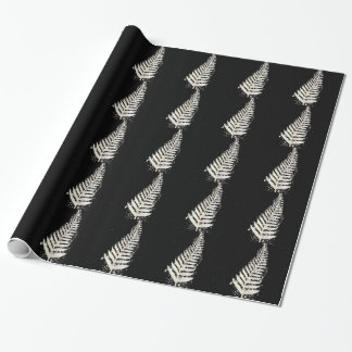 New Zealand SIlver Fern Christmas Tree Wrapping Paper