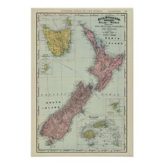 New Zealand, Tasmania, Fiji Poster