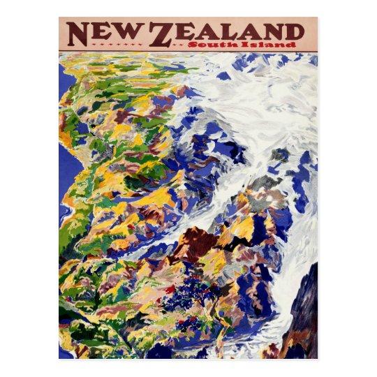 New Zealand Vintage Travel Poster Postcard