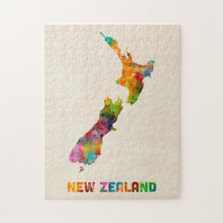 New Zealand, Watercolor Map Puzzles