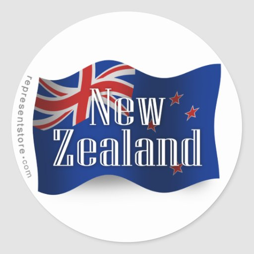 New Zealand Waving Flag Round Stickers
