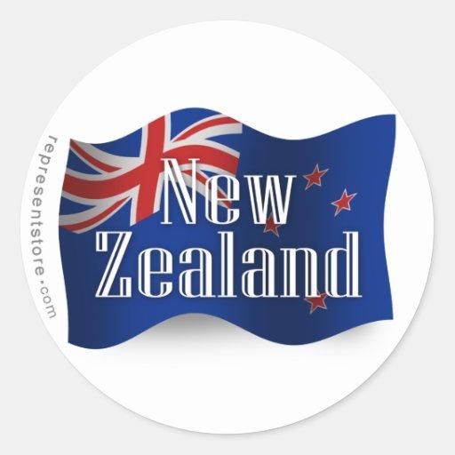 New Zealand Waving Flag Round Stickers