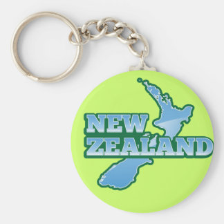 NEW ZEALAND with a map Basic Round Button Keychain