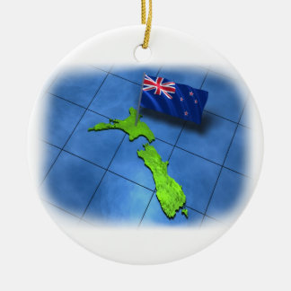 New Zealand with its own flag Ceramic Ornament