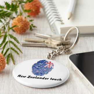 New Zealander touch fingerprint flag Basic Round Button Keychain