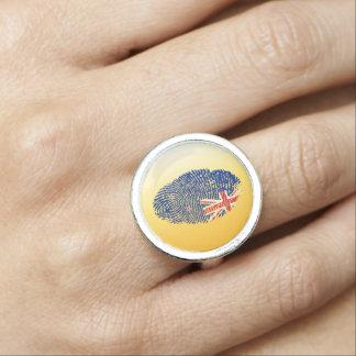New Zealander touch fingerprint flag Photo Ring