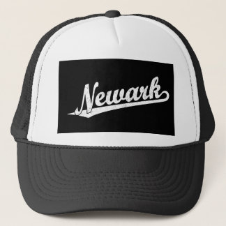Newark script logo in white distressed trucker hat