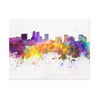 Newark skyline in watercolor background canvas print