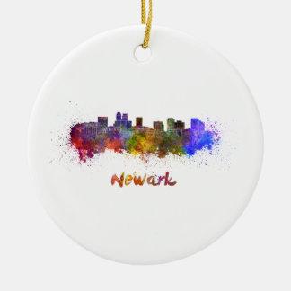 Newark skyline in watercolor round ceramic ornament