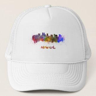 Newark skyline in watercolor trucker hat