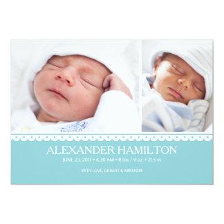 Newborn Baby Birth Announcement Blue Photo Card