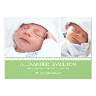 Newborn Baby Birth Announcement Green Photo Card