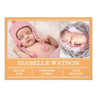 Newborn Baby Birth Announcement Orange Photo Card