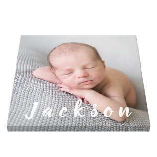 Newborn Baby Boy Photography Personalized Name Canvas Print