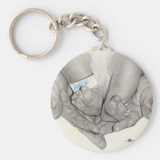 Newborn baby feet hands Keychain
