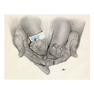 Newborn baby feet hands Postcard