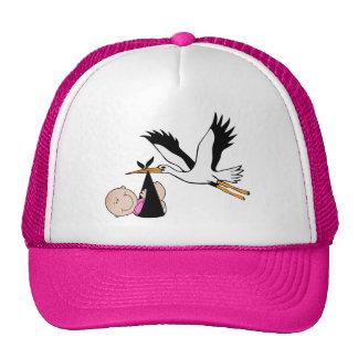 Newborn Baby Girl and Stork Trucker Hats