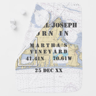 Newborn Baby Nautical Chart Martha's Vineyard Stroller Blanket