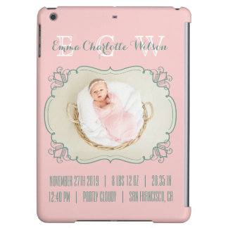 Newborn Baby Photo Monogram Blush Pink Green Frame Cover For iPad Air