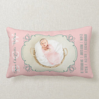 Newborn Baby Photo Monogram Blush Pink Green Frame Lumbar Pillow