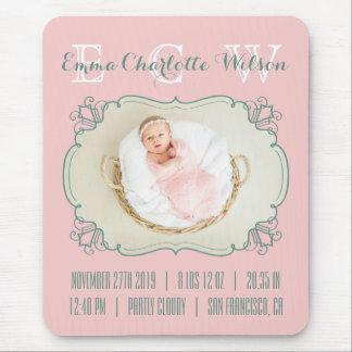 Newborn Baby Photo Monogram Blush Pink Green Frame Mouse Pad