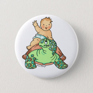 Newborn Baby rides Turtle Button