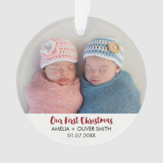Newborn Baby Twins Photo Holiday Ornament