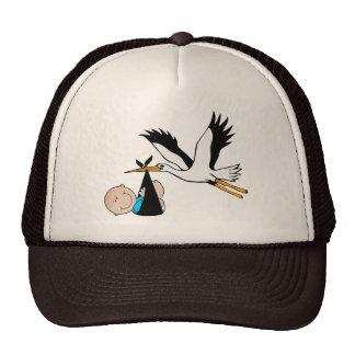 Newborn Boy and Stork Trucker Hat