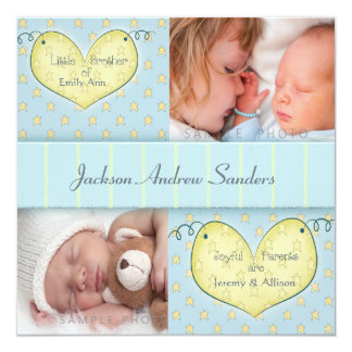 Newborn Boy with Sibling Photo Birth Announcement