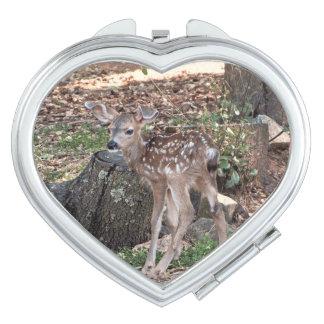 Newborn Fawn Heart Compact Mirror