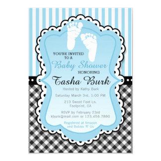 Newborn Footprint Blue Baby Shower Invitation