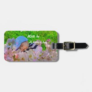 Newborn in a basket luggage tag
