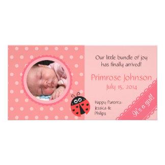 Newborn Photo Card: Ladybug with Pink Polka Dots Photo Card