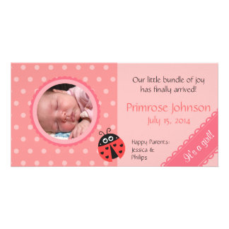 Newborn Photo Card: Ladybug with Pink Polka Dots