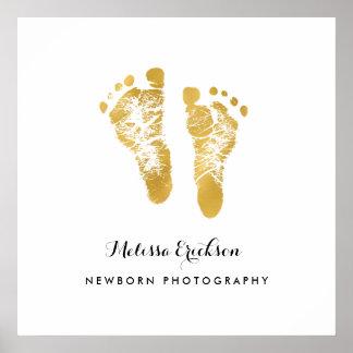 Newborn Photographer Elegant Faux Gold Footprints Poster