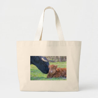 Newborn scottish highlander calf with mother cow large tote bag