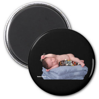 Newborn Skateboard Baby 2 Inch Round Magnet