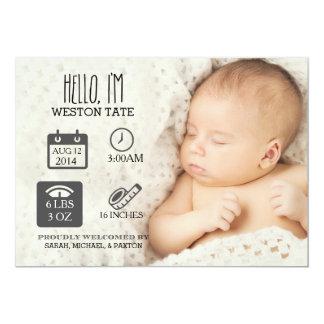 Newborn Stats Birth Announcement