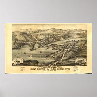 Newcastle & Damariscotta Maine 1878 Panoramic Map Poster