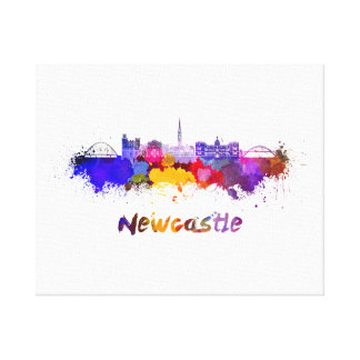 Newcastle skyline in watercolor canvas print