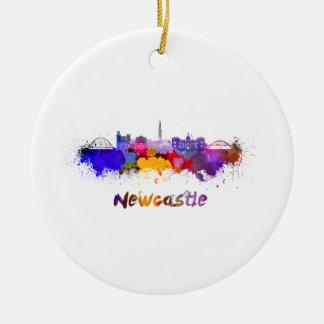 Newcastle skyline in watercolor round ceramic ornament
