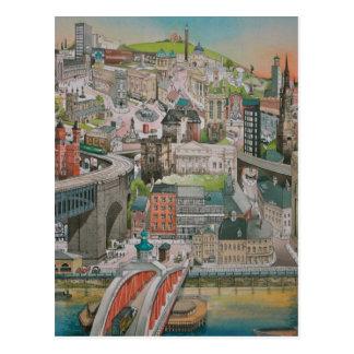 Newcastle sur la carte postale de Tyne à travers
