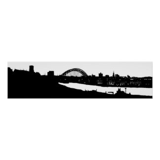 Newcastle upon Tyne Panoramic Silhouette Poster