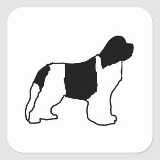 newfie silo white black square sticker
