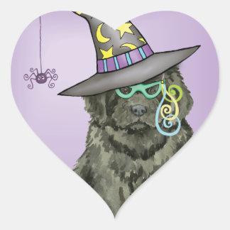 Newfie Witch Heart Sticker
