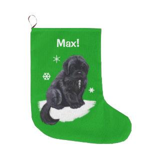 Newfoundland at Christmas Name Customizable Green Large Christmas Stocking